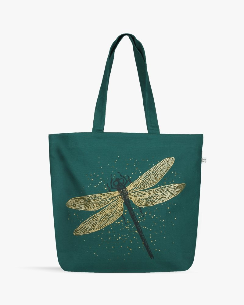 Spectacular DragonFly Green Canvas Zipper Tote Bag Online